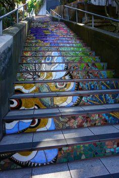 The Hidden Garden Steps in San Francisco. One of four sets of mosaic steps in San Francisco.