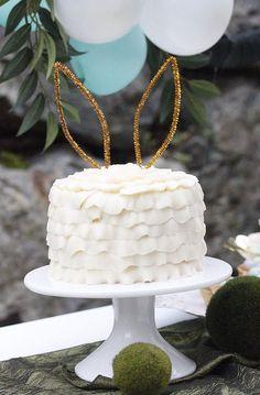 Bunny-eared ruffle cake from an Easter Garden Brunch on Kara's Party Ideas | KarasPartyIdeas.com (31)