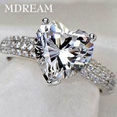 30% anillo de plata y Platino lleno de 3 Quilates CZ Diamond para las mujeres de moda de la boda anillos de la joyería del estilo del corazón 7 8 9 10 LSR048
