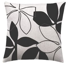 Flora Pillow featuring hand-embroidered wool in cream/black
