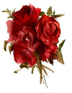 Buy Dark Red Roses, Watercolor by Suren Nersisyan on Artfinder. Discover thousands of other original paintings, prints, sculptures and photography from independent artists. Arches Watercolor Paper, Watercolor Flowers, Watercolour, Dark Red Roses, Special Flowers, Paper Tags, Rose Bouquet, Beautiful Roses, Lovers Art