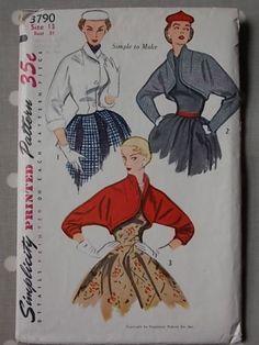 Early-50s-Bolero-amp-Jacket-Vtg-Sewing-Pattern-Simplicity-3790-Bust-31