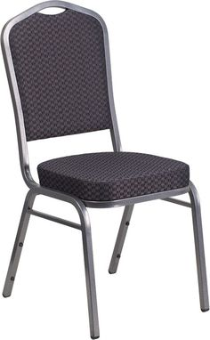 HERCULES Series Crown Back Stacking Banquet Chair with Black Patterned Fabric…