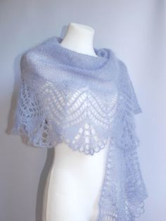 Lavender hand knitted lace shawl stole scarf by aboutCRAFTS