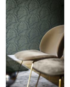 Inspired by the delicate beauty of nature, this leafy pattern's flowing lines and sinuous curves draw the eye and hold it. With its soft almost private aesthetic, its floral appearance and soft gr Sit Back And Relax, Metallic Colors, Perfect Place, Dining Chairs, Lounge, Wallpaper, Room, Shadows, Inspiration