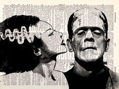 "Just decided. Wedding theme: ""we were made for each other."" ...get it!? MADE for each other. Don't steal it.   Frankenstein and Bride of Frankenstein by TheRekindledPage on Etsy"