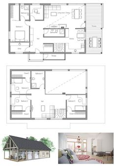 Small house plan with full wall height windows in the living area, affordable building budget. Floor Plan,