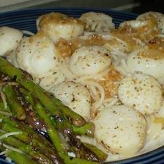 White wine, butter, and shallots make a great sauce for scallops. This is easy and non-creamy for those that don't like cream sauces.