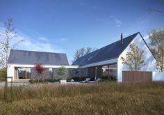 DOM.PL™ - Projekt domu DZW Familijny 1 CE - DOM DW2-10 - gotowy koszt budowy Farmhouse Architecture, Modern Farmhouse Exterior, Modern Bungalow House, Modern House Design, Farmhouse Renovation, Barn House Plans, Simple House, Amazing Architecture, Home Fashion