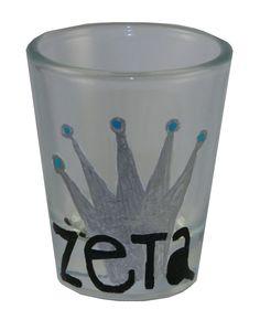 Zeta Tau Alpha shot glass made with CUSTOM STENCILS from DIYGreek.com.