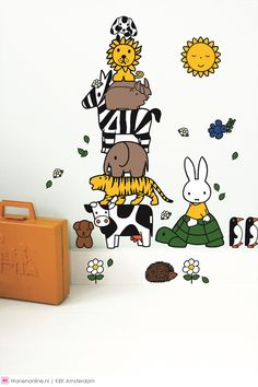 Miffy on the wall Elephant Nursery, Animal Nursery, Unisex Nursery Colors, Baby Stickers, Wall Drawing, Miffy, Iphone Background Wallpaper, Doodle Drawings, Baby Boy Nurseries