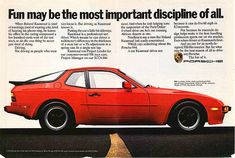 Fun may be the most important discipline of all.. Porsche 944 advertisement