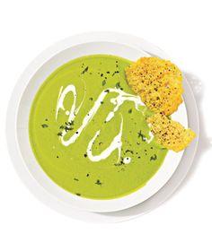 Pea and Parmesan Soup With Parmesan Crisps (Real Simple)