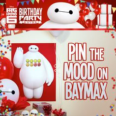 Party Printables PDF: Disney's Big Hero 6 Birthday Party Ideas! On a scale of 1 to how would you rate your pain? Find out when you pin the mood on Baymax for your Big Hero 6 kid birthday party! 6th Birthday Parties, Baby Birthday, Birthday Ideas, Big Hero 6 Party Ideas, Big Hero 6 Baymax, Kawaii, Party Time, Mood, Disney Pictures