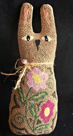 Bunny Shape Pillow Primitive Needle Punch by thetalkingcrow, $50.00