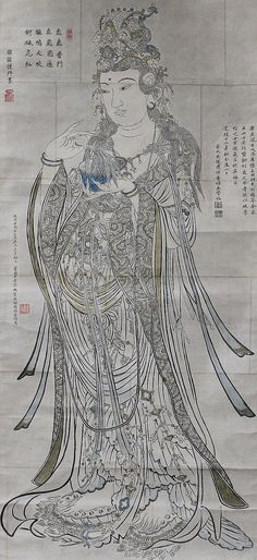 Antique Large Kannon Guan Yin (Daikannon). Japanese Buddhist Hanging Scroll.