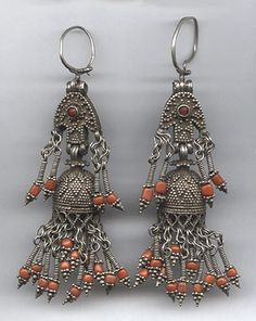 Central Asia | Antique heavy silver, coral and read glass earrings from Baluchistan | 225$