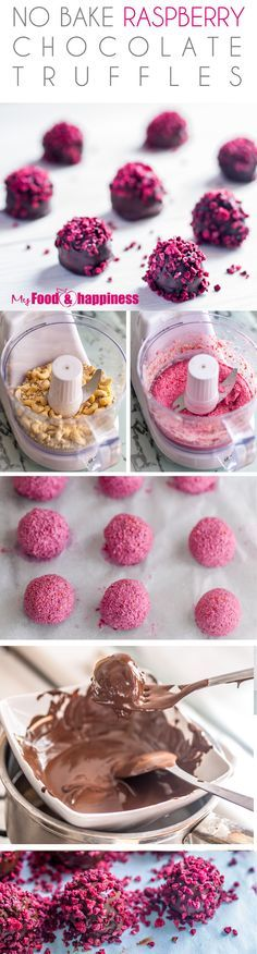 Easy and very impressive No Bake Raspberry Chocolate Truffles! Vegan and extremely decadent, made with natural ingredients only (no added processed sugar). Sweet raspberry filling inside a crunchy chocolate layer. Extremely beautiful and decadent! Candy Recipes, Sweet Recipes, Dessert Recipes, Raspberry Chocolate, Chocolate Truffles, Chocolate Food, Chocolate Brownies, Chocolate Cream, Chocolate Ganache