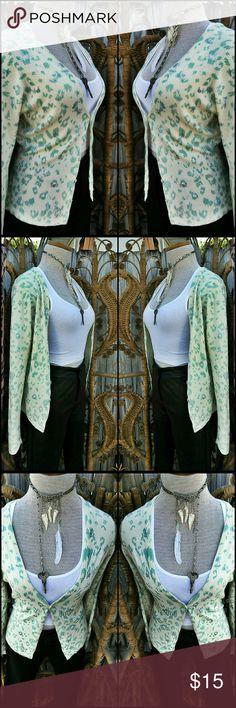 Karen Kane Teal Leopard Cardigan Fun teal leopard print cardigan with sequin detailing . Tops