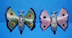 Two Antique Germany Glass Moth Ornaments Spun Glass Wings