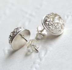 White Topaz & Sterling Silver Crown Detail Studs by daisy and mister on madeit.com.au