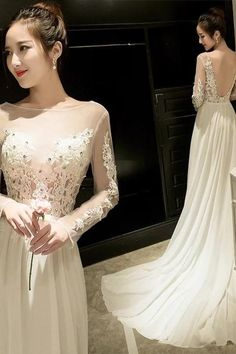 White Evening Dress New Style Prom Dress Slimming Fishtail Banquet Dress Sexy Shoulder-length Gown Formal Dress Long Sleeve Evening Dresses, Prom Dresses Long With Sleeves, Sexy Dresses, Fashion Dresses, Banquet Dresses, Formal Dresses, Wedding Dresses, Fishtail, Shoulder Length