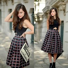 Sheinside Skirt, Karen Walker Clutch, Zara Top, Zara Shoes