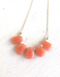 Bib Necklace in Gold with Orange Jade and Mint Crystals.  Bib Statement Necklace. Gift.  Modern Jewelry.  Peach Statement Jewelry.  Modern.