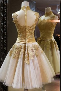 A Vintage Gold and Cream colored Prom Dress