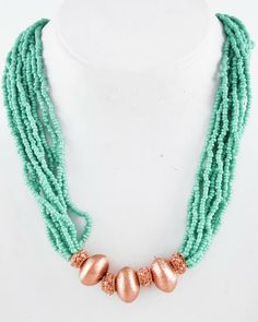 Copper Tone / Turquoise Acrylic Seed Beads / Lead&nickel Compliant / Multi Strand / Necklace