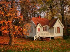 Adorable white house with red roof and picnic table in the autumn woods.