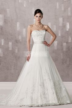 Strapless Embroidery Chapel Train Princess Wedding Dress
