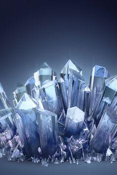 Blue Crystals #iPhone #4s #Wallpaper