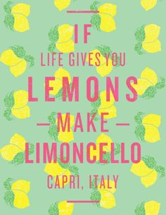 When life gives you lemons, make limoncello. I will drink limoncello in Capri. Great Quotes, Quotes To Live By, Inspirational Quotes, Fabulous Quotes, Awesome Quotes, The Words, Motto, Making Limoncello, Limoncello Recipe