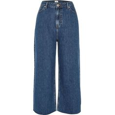 River Island Dark blue Alexa cropped wide leg jeans (4.660 RUB) ❤ liked on Polyvore featuring jeans, pants, bottoms, blue, bootcut & flared jeans, women, cropped flare jeans, cropped bootcut jeans, boot cut jeans and wide leg blue jeans