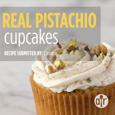 These delicate cupcakes get their flavor and pale green color from ground roasted pistachios. Pistachio Bread, Pistachio Cupcakes, Pistachio Recipes, Pistachio Muffins, Pistachio Dessert, Green Cupcakes, Mini Cupcakes, Homemade Cupcake Recipes, Dump Cake Recipes