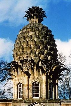 """The Dunmore Pineapple is a folly said to """"rank as the most bizarre building in Scotland."""" It is situated in Dunmore Park, approximately one kilometre northwest of Airth and the same distance south of Dunmore in the Falkirk council area, Scotland. Unusual Buildings, Interesting Buildings, Amazing Buildings, Beautiful Architecture, Architecture Details, Virginia Is For Lovers, Colonial Williamsburg, Williamsburg Virginia, Unusual Homes"""