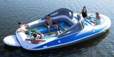 Sun Pleasure's Bay Breeze Boat Island is an oversized floating vessel that looks like a speedboat, but is actually just an inflatable raft on steroids. Cool Pool Floats, Wisconsin, Buy A Boat, Pontoon Boat, Boat Dock, Speed Boats, Power Boats, Boat Plans, Cool Pools