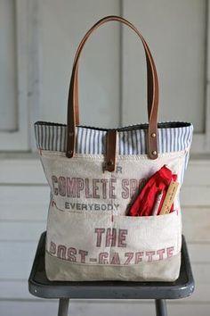 1950's era Ticking Fabric and Work Apron Tote Bag