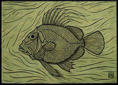 """John Dory"" by Rachel Newling. http://rachelnewling.com/ Tags: Linocut, Cut, Print, Linoleum, Lino, Carving, Block, Woodcut, Helen Elstone, Fish, Water."