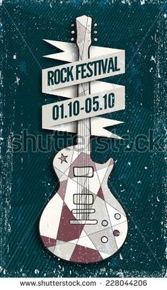 Vector Rock music festival poster template. Electric guitar with headline ribbon wrapping it. Texture effects can be turned off.
