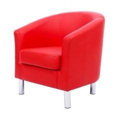 Modern Tub Bucket Style Chair Armchair Reception Home Office Work PU Leather Red