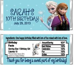 Frozen Birthday Party Hershey Candy by DannisCuteCreations on Etsy