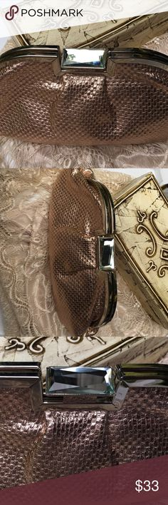 Jessica McClintock clutch Rose gold with silver and mirror accents. EUC. No stains, tears, etc Jessica McClintock Bags Clutches & Wristlets