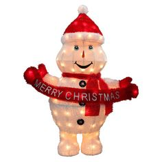 42-inch High Pre-Lit Clear Mini-light Merry Christmas Snowman Decoration