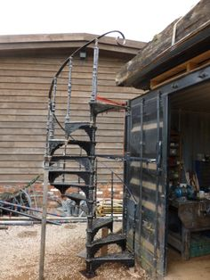Antique Cast Iron Spiral Staircase,with Top Handrail,Cast Iron Spiral