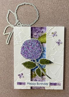 Hydrangea Bloom, Hydrangeas, Stamp Sets, Texture Painting, Stamping Up, Embossing Folder, Flower Cards, Homemade Cards, Stampin Up Cards