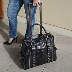 Buy Stella Rolling Laptop Bag by Samantha Mary Handbags on OpenSky Rolling Laptop Bag, Rolling Bag, Handbag Storage, Laptop Bag For Women, Trolley Bags, Laptop Tote, Computer Bags, Leather Briefcase, Luggage Bags