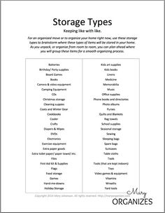 Storage Types - think it through - - - Organize Your Move Like A Professional Organizer {FREE Printable}