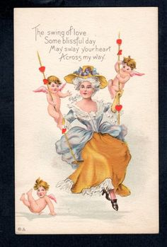 V656 Postcard Artist designed Valentine woman in swing with cupids